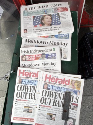 Newspapers from 30 September 2008, the morning of the bank guarantee and Wall Street meltdown