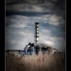 Reactor #4 of the Chernobyl power plant, as seen from the Red Forest. 