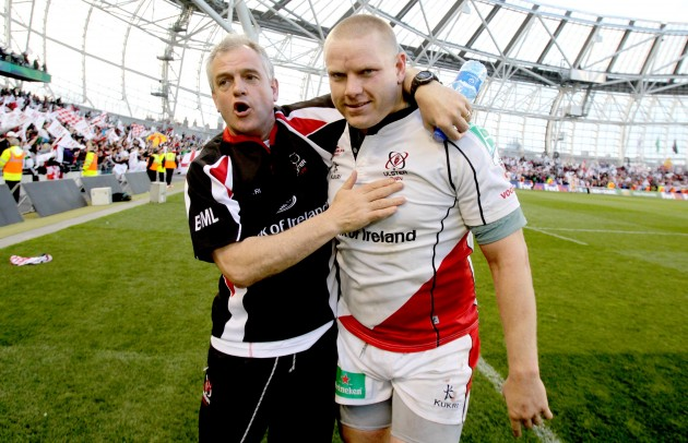 Brian McLaughlin celebrates with Tom Court after the game 28/4/2012