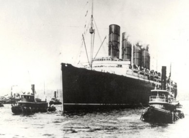 The Lusitania sailing from New York on 1st May 1915 on her last voyage before being sunk by a German U-Boat of the coast of Ireland on 7th May 1915. 