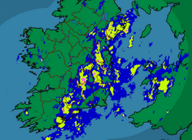 A rainfall radar image from Met Éireann at 7:15pm this evening.