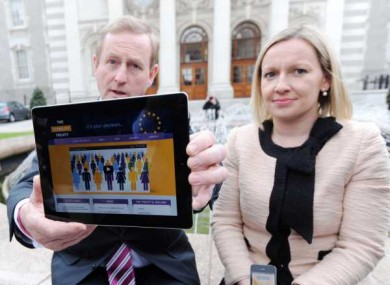 Kenny and Minister of State for European Affairs Lucinda Creighton as the Govt launches its online public information campaign.