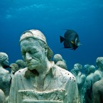 British artist Jason deCaires Taylors under-the-sea museum features more than 400 pieces moulded from pH-neutral concrete and sunk in Cancns National Marine Park off Isla Mujeres.