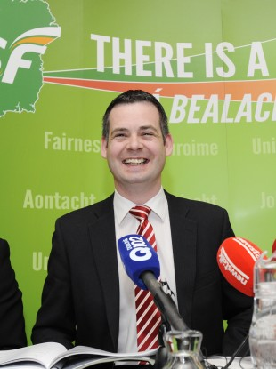 Pearse Doherty at the launch of the agenda for the Ard Fheis earlier this month. And if he looked cheerful then...