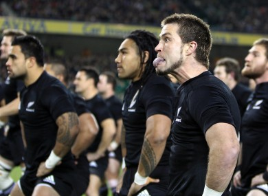 Cory Jane during the haka at the Aviva Stadium.