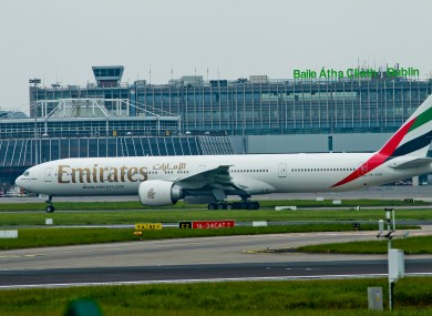 An Emirates Boeing 777 at Dublin Airport.