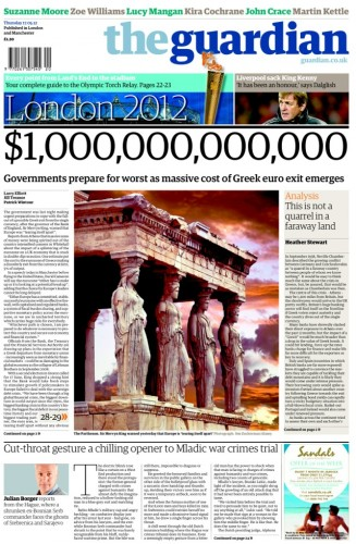 Guardian front page 17 May 12