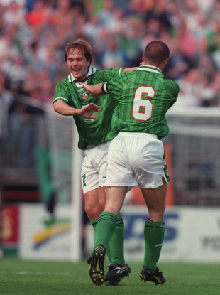 McAteer and Keane celebrate a goal against Croatia.