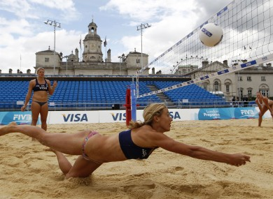 British beach volleball players at Horse Guards Parade in London recently. 