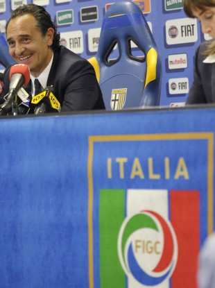 Italy's coach Cesare Prandelli talks to journalists yesterday.