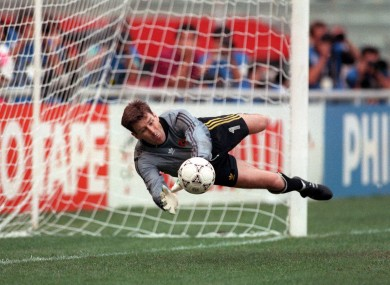 Packie Bonner saves a penalty against Romania at Italia '90.