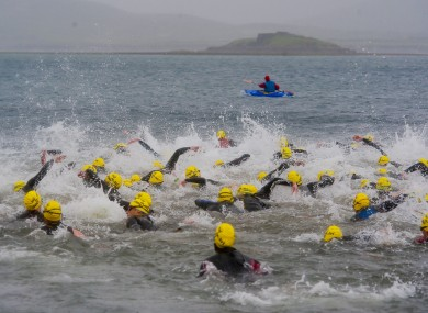 Swimmers set out on the triathlon at Valentia Island last year.