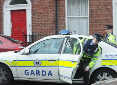 Gardai at the scene on Sherrard Street Upper in Dublin yesterday