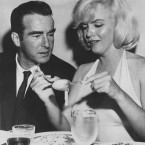 Actress Marilyn Monroe rolls up some pasta in a restaurant in San Fransico during a dinner with actor Montgomery Clift in 1960. (AP Photo)