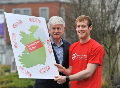 Alan Corcoran with his father Milo ahead of his marathon endeavour which begins this weekend.