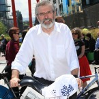 Sinn Féin's Gerry Adams takes to two wheels. (Conor McCabe Photography)