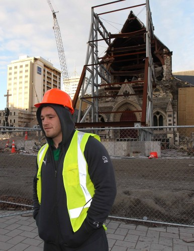 Cian Healy in the Red Zone which was devastated by an earthquake in february last year. 13/6/2012