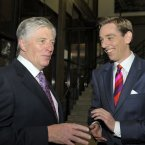 Broadcasters Pat Kenny and Ryan Tubridy take a moment in the RTÉ foyer this evening. (Photo by Michael Chester)