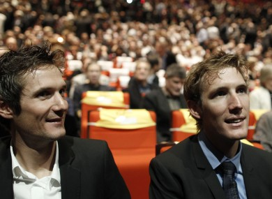 s Andy Schleck, right, and his brother Frank.