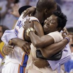 Kevin Durant hugs his mother during the final moments of the Oklahoma City Thunder's series win against the San Antonio Spurs. (AP Photo/Eric Gay)