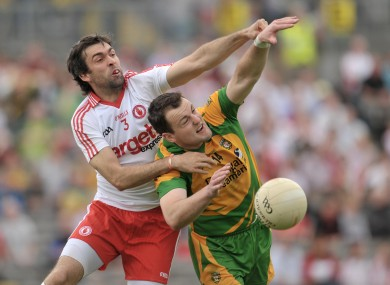 Tyrone's Joe McMahon and Donegal's Michael Murphy battling in last season's Ulster meeting.