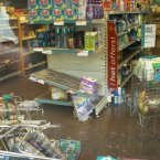 Damage caused to a shop and stock by the flooding