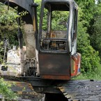 A fire damaged tracked machine at Clonmoylan Bog.