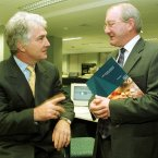 Pictured at the announcement of Anglo Irish Bank's preliminary results for the year ending 30 September 1999, were group Chief Executive Sean Fitzpatrick and William McAteer, Finance Director. (Image: 23 November 1999; Photocall Ireland)