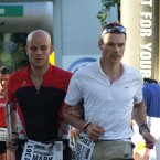 Mark (left) taking part in Ironman Switzerland