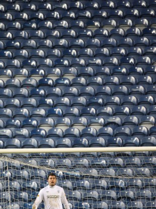 Allan McGregor in a near-empty Ibrox last year.