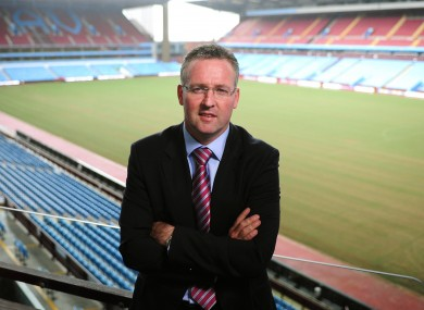 New Aston Villa manager Paul Lambert at Villa Park today.