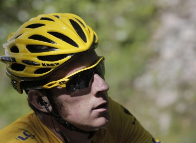Bradley Wiggins in yellow yesterday.