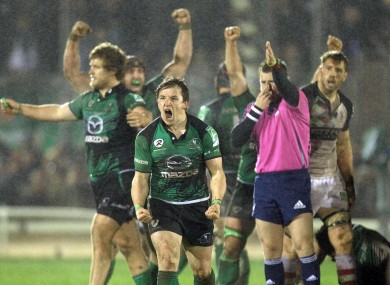 Paul O'Donohoe celebrates at the final whistle of Connacht's Heineken Cup victory over Harlequins.