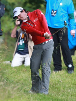 Rory McIlroy's drives has been wayward thus far in Round Two.