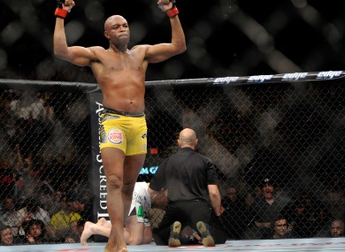 Anderson Silva celebrates after the referee stop the fight during his middleweight championship fight.