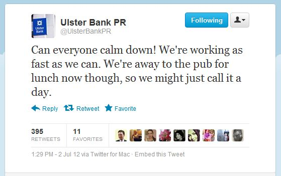 Ulster Bank tweet