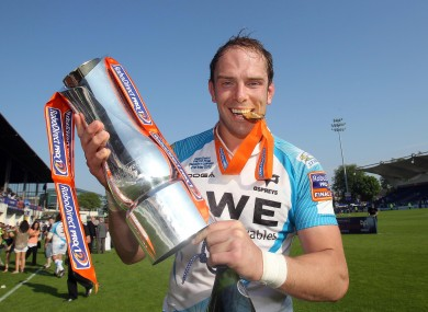 Ospreys captain Alun-Wyn Jones celebrates in May.