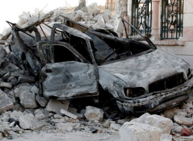 A damaged car in the streets of Azaz, 32km from Aleppo.