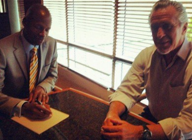 Ray Allen with NBA legend and Miami president Pat Riley.