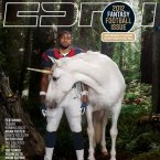Houston Texans running back Arian Foster snapped with a unicorn for the cover of ESPN: The Magazine. (ESPN)