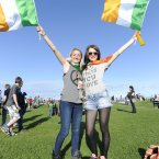 Aoife Moloney and Emma Boston from Tallaght in Bray yesterday. Photo: Sasko Lazarov/Photocall Ireland