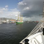 Pictured is the Alexander von Humboldt II from Germany, which is in Class A. It is seen here arriving in Dublin this afternoon, for the Tall Ships Races 2012 which starts tomorrow and tuns until the 26th. Photo: Sam Boal/Photocall Ireland.