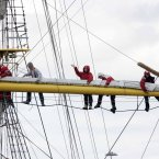 Crew members on board the German vessel Alexander von Humboldt II. Photo: Mark Stedman/Photocall Ireland