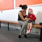 There were some jitters for four-year-old Alexis as her mum Michelle tries to coax her into St. Ultans Primary School in Cherry Orchard. Photo: Mark Stedman/Photocall Ireland
