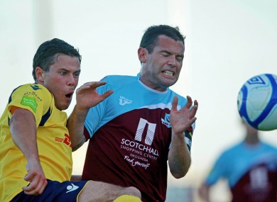 Adam Martin of Bohs with Paul Crowley of Drogheda.
