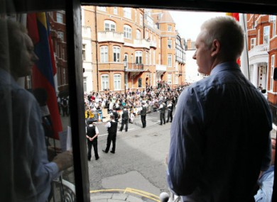 Julian Assange delivering a statement from the Ecuadorian embassy in London last weekend.