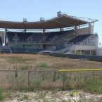 The softball stadium.