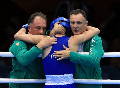 Michael Conlan celebrates with coach Billy Walsh and coach Zaur Anita.