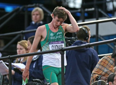 Ireland's Ciaran OLionard after finishing the Men's 1500m heats well down the field.