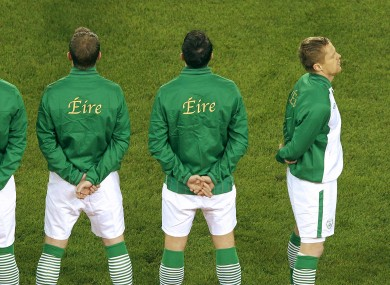 Proud: Duff faces the tricolour as the national anthem is played before Ireland's Euro 2012 play-off v Estonia.